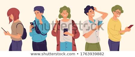 Jongen spelen jongens telefoon internet Stockfoto © papa1266