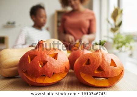 Halloween jack o lantern preparation Stock photo © franky242