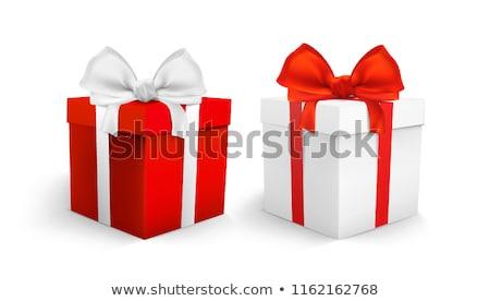 Ajándék doboz piros vonalak fehér esküvő boldog Stock fotó © Quka
