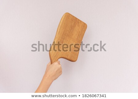 Stock photo: Female chef holding meat cleaver