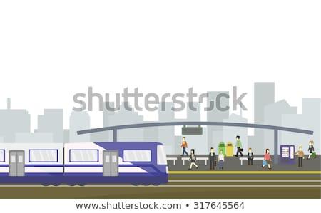 Poste indicador estación de ferrocarril naranja azul signo viaje Foto stock © ABBPhoto