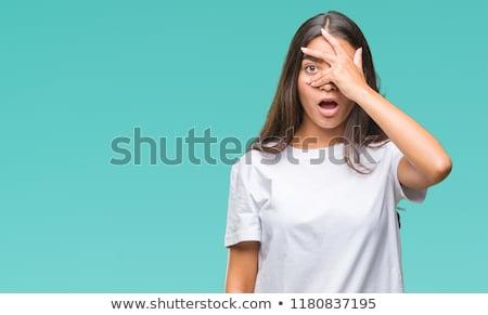 Shy giovani indian donna coperto faccia Foto d'archivio © bmonteny