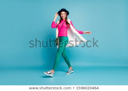 Femme chapeau gilet blanche fille Photo stock © stryjek