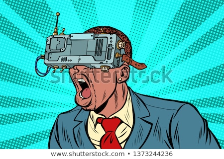 Young screaming happy man wearing virtual reality device Stock photo © deandrobot