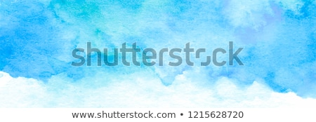Stock photo: hand painted blue watercolor stain vector background