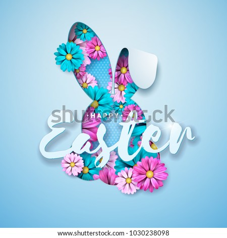 Vector Illustration of Happy Easter Holiday with Nice Rabbit Face and Hand Lettering Typography on B Stock photo © articular