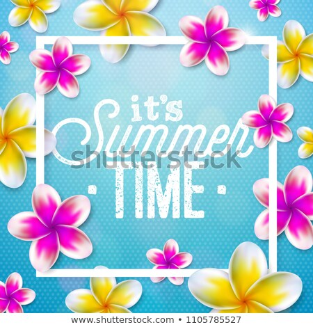Its Summer Time illustration with flower on blue background. Tropical Holiday typographic design tem Stock photo © articular