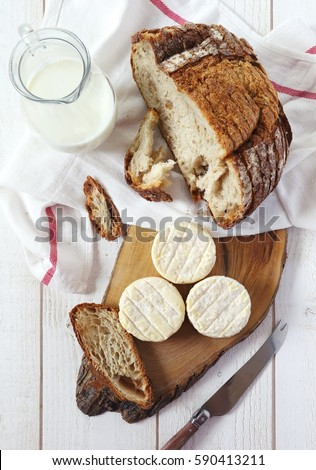 French goats cheeses and bread on background Stock photo © FreeProd
