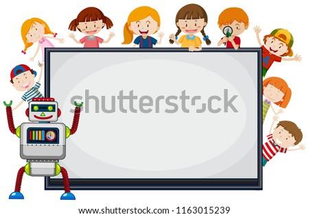 Stock fotó: Gyerekek · robot · körül · keret · illusztráció · boldog