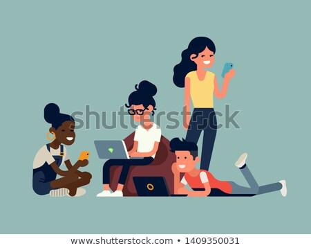 Felhasználó laptop távoli dolgozik szabadúszó közösségi média Stock fotó © RAStudio