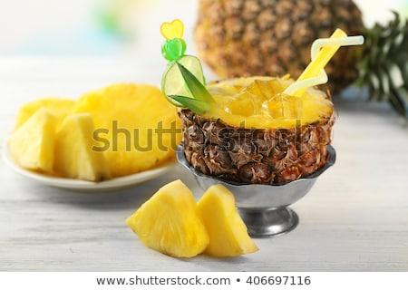 Half ananas houten tafel boven shot groene bladeren Stockfoto © dash
