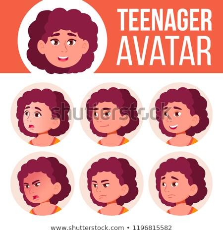 fat teen girl avatar set vector face emotions child friendly cartoon head illustration stock photo © pikepicture