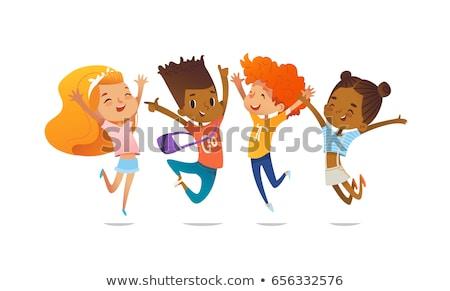grup · oynayan · çocuklar · birlikte · vektör · yalıtılmış · örnek - stok fotoğraf © pikepicture