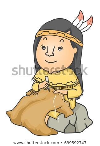 girl native american cloth buffalo skin illustration stock photo © lenm