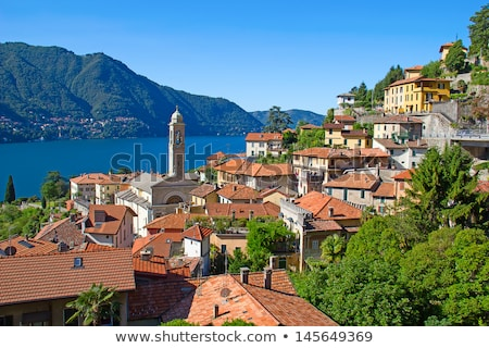 göl · köy · İtalya · ev · dağ · Avrupa - stok fotoğraf © boggy