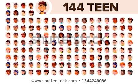 Adolescente nino avatar establecer vector cara Foto stock © pikepicture