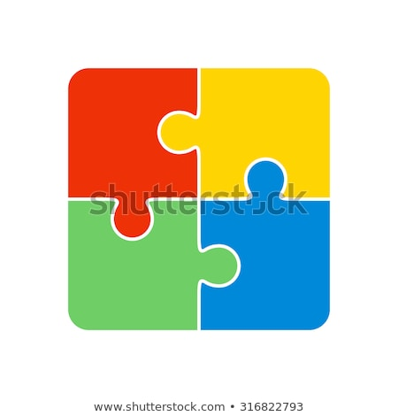frame template with jigsaw puzzle pieces stock photo © colematt