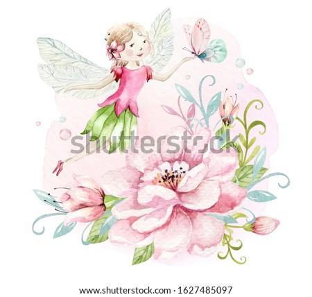 かわいい 妖精 ピンク 翼 実例 笑顔 ストックフォト © colematt