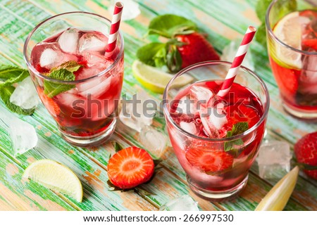 Koud zomer drinken mojito kalk mint Stockfoto © Lana_M
