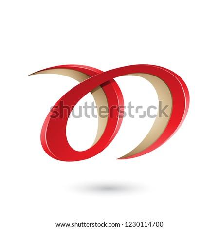 Rouge beige lettre d vecteur illustration isolé Photo stock © cidepix