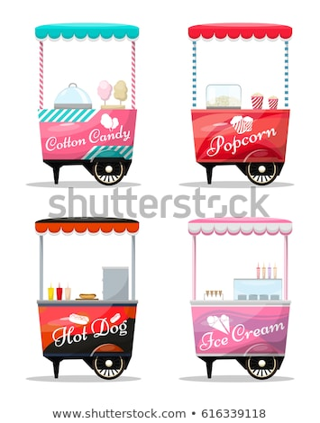 Hot Dogs and Cotton Candy from Street Carts Set Stock photo © robuart