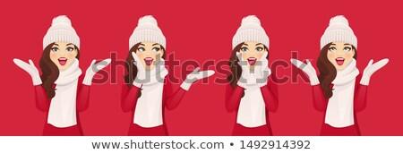 Scioccato indossare inverno sciarpa piedi Foto d'archivio © deandrobot