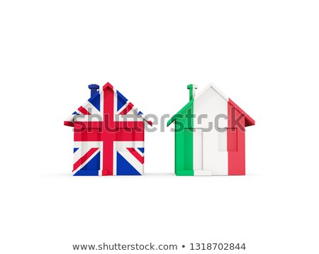 Two houses with flags of United Kingdom and italy Stock photo © MikhailMishchenko