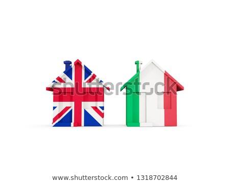 Due case bandiere Regno Unito Italia isolato Foto d'archivio © MikhailMishchenko
