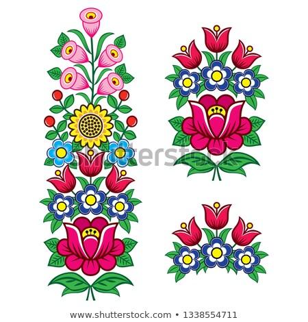Floral Polish folk art vector design elements, motifs for weddding invitation, greeting card, Zalipi Stock photo © RedKoala