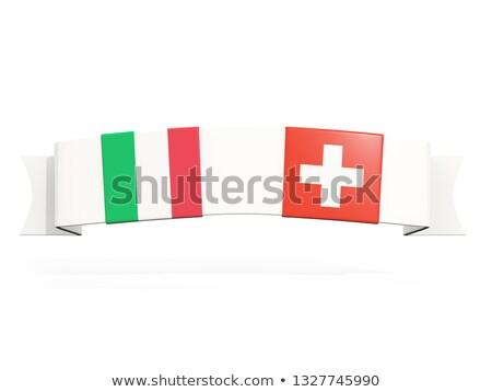 Banner due piazza bandiere Italia Svizzera Foto d'archivio © MikhailMishchenko