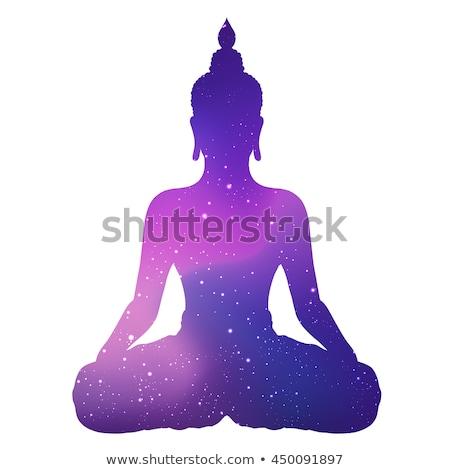 sessão · silhueta · logotipo · ilustração · buda · folha - foto stock © Blue_daemon