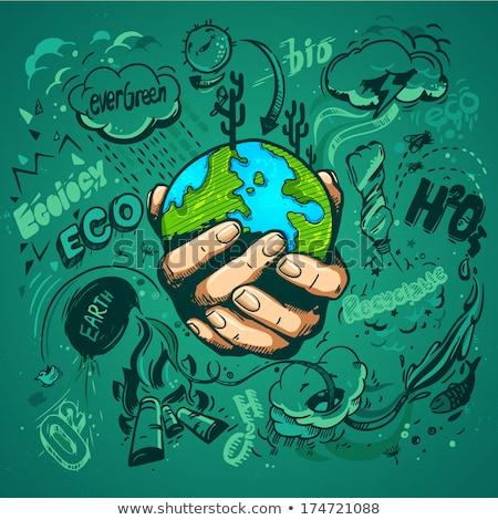 Föld napja szalag kezek tart zöld bolygó Stock fotó © cienpies