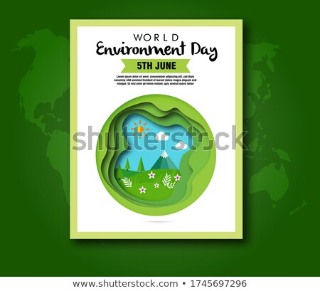 Green papercut world map on recycled paper Stock photo © cienpies