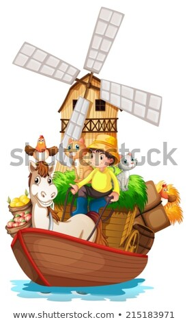 a boat with farm animals and farm fruits stock photo © colematt
