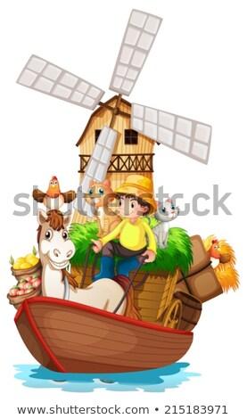 Barco animais de fazenda fazenda frutas ilustração branco Foto stock © colematt