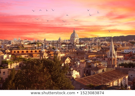 Rome rooftops and landmarks colorful sunset view Stock photo © xbrchx