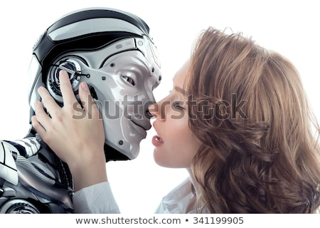 loving couple robots kissing stock photo © studiostoks