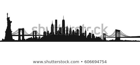 Нью-Йорк · Skyline · черно · белые · иллюстрация · статуя · свободы - Сток-фото © ggs