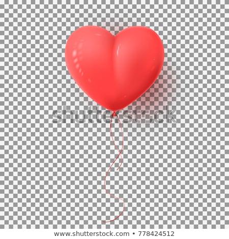 реалистичный красный сердце шаре прозрачный тень Сток-фото © olehsvetiukha
