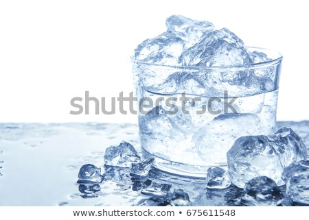 Glass of water with ice on a dark blue background Stock photo © cookelma
