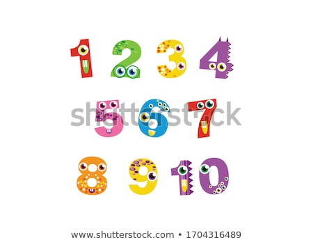 educational cartoon numbers collection with objects Stock photo © izakowski