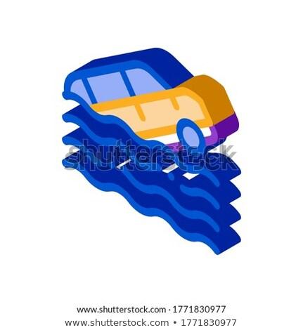 Süllyed autó izometrikus ikon vektor felirat Stock fotó © pikepicture