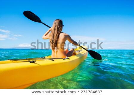 amarelo · caiaque · costa · lago · esportes · viajar - foto stock © alexeys