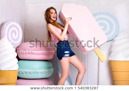 beautiful girl with marshmallows Stock photo © zastavkin