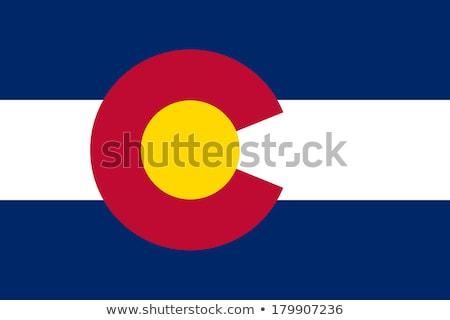 Foto stock: Bandeira · Colorado · vento · negócio · fundo