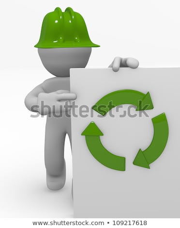 Construction worker holding a recycle sign Stock photo © photography33