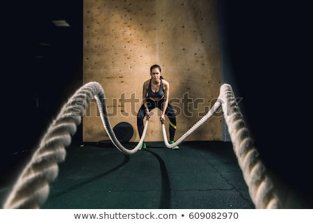 portret · jonge · vrouw · handdoek · rond · nek - stockfoto © stockyimages