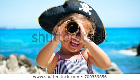 美しい · 若い女の子 · 海賊 · 帽子 · 青 · 肖像 - ストックフォト © pzaxe