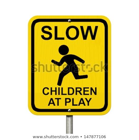 żółty ostrożność znak drogowy kopia przestrzeń trawy Zdjęcia stock © shutswis