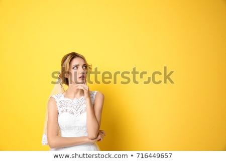 portré · aggódó · fiatal · lány · göndör · haj · tart · ujjak - stock fotó © zittto